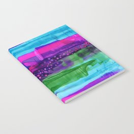 Friction - abstract modern stripes, dots, vibrant, purple, blue, magenta, hot pink, emerald green Notebook