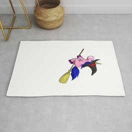 Unicorn Witch, It's Show Time Funny Halloween Horror Scary Rug