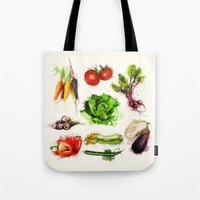 vegetables Tote Bags featuring vegetables by Zazie-bulles