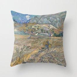 Landscape at Saint-Remy by Vincent Van Gogh Throw Pillow
