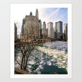 Frozen River Breaks Art Print