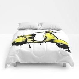 Yellow Vespa Scooter Comforters
