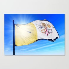 Vatican City flag waving on the wind Canvas Print