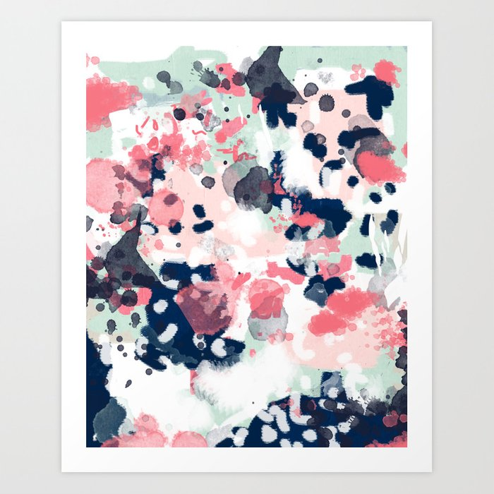 Hayes   Abstract Painting Minimal Trendy Colors Nursery Baby Decor Office  Art Art Print