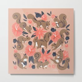 Squirrels & Blooms – Peach & Tan Metal Print