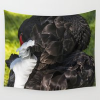 black swan Wall Tapestries featuring Black Swan by Veronika