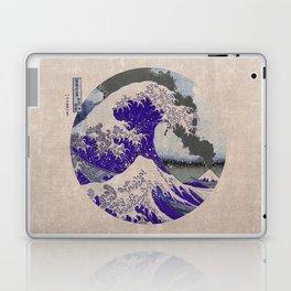 The Great Wave off Kanagawa Eruption Tan Laptop & iPad Skin