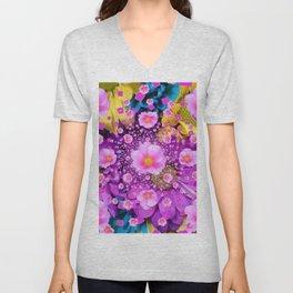 Delicate Pink Roses & Colored Flowers Art Nature Design Unisex V-Neck