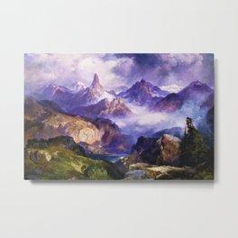 Index Peak, Yellowstone, Wyoming landscape alpine painting by Thomas Moran Metal Print
