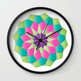 Octagon Colored Mandala Wall Clock