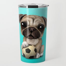 Cute Pug Puppy Dog With Football Soccer Ball Travel Mug