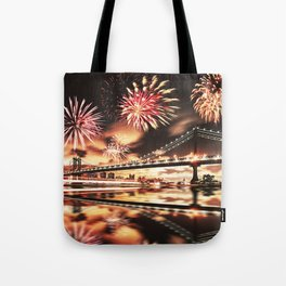 new york city with fireworks Tote Bag