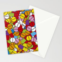 Colorful Pills Modern Medical Graphic Art Illustration Stationery Cards