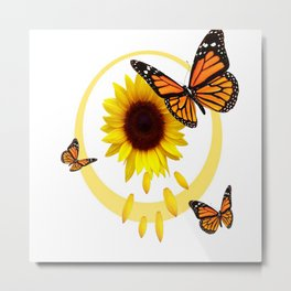 ORANGE MONARCH BUTTERFLIES & SUNFLOWER  PATTERN Metal Print
