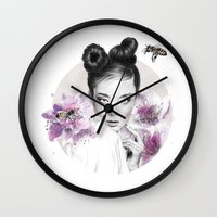 arya stark Wall Clocks featuring Arya by Nevertheless