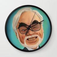 hayao miyazaki Wall Clocks featuring Hayao Miyasaki by CarolaRT