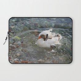 Duck Splashing Water Creating Ripples on Riverbank Laptop Sleeve