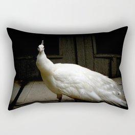Elegant white peacock vintage shabby rustic chic french decor style woodland bird nature photograph Rectangular Pillow