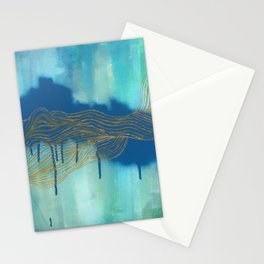 Golden Blue Lines Stationery Cards