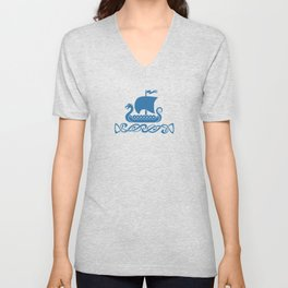 Drgon Boat - Blue Unisex V-Neck