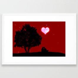 Red moon of love Framed Art Print