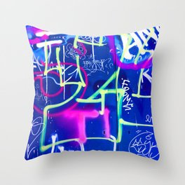 Blue Mood with Pink Language Throw Pillow