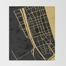 Toronto Map 1 - Gold on Black Throw Blanket