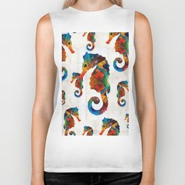 Colorful Seahorse Collage Art by Sharon Cummings Biker Tank