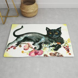Coffee, Orchid and Black Cat Vintage Style Large Format XXL Rug