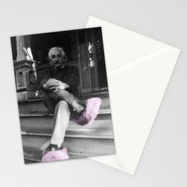 Albert Einstein in Fuzzy Pink Slippers Classic E = mc² Black and White Satirical Photography  Stationery Cards