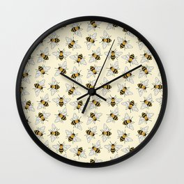 Busy Bees on buttermilk Pattern Wall Clock