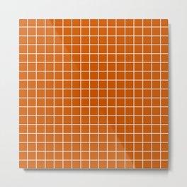 Burnt orange - orange color - White Lines Grid Pattern Metal Print