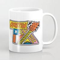 austin Mugs featuring Austin TX by Brandon Ortwein