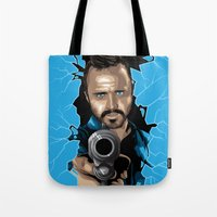 jesse pinkman Tote Bags featuring Jesse Pinkman -Blue by Denis O'Sullivan