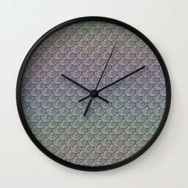 Silver Rainbow Mermaid Scales Wall Clock