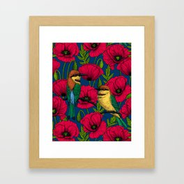 Bee eaters and poppies Framed Art Print