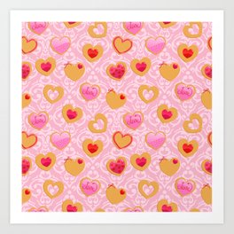 Valentine's day heart shaped cookies Art Print