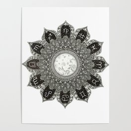 Astrology Signs Mandala Poster