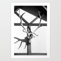 antlers Art Prints featuring Antlers by Tiffany Dawn Smith