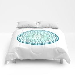 St. Patrick's Day Celtic Blue Mandala #1 Comforters