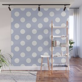 Light periwinkle - grey - White Polka Dots - Pois Pattern Wall Mural