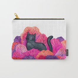 Pink Forest Black Cat Watercolor Carry-All Pouch