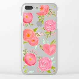 watercolor pink hearts Clear iPhone Case