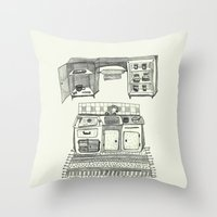 kitchen Throw Pillows featuring Kitchen by piankaB