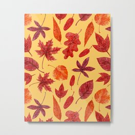Red autumn leaves watercolor Metal Print