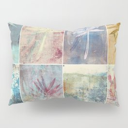 Monoprint collage of leaves Pillow Sham