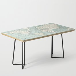 World Map in Blue and Cream Coffee Table