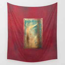 Deep Red, Gold, Turquoise Blue Wall Tapestry