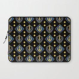 Gold and Lapis Lazuli Khanda symbol pattern Laptop Sleeve