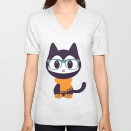 Cute kitten in scarf and glasses Unisex V-Neck